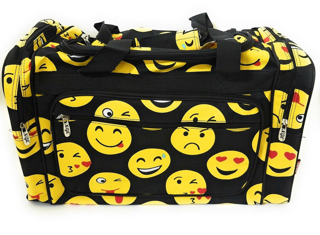 Emoji Smiley Face Black Yellow Dance Cheer Sports Camp Beach Luggage Bag Tote Duffel 20