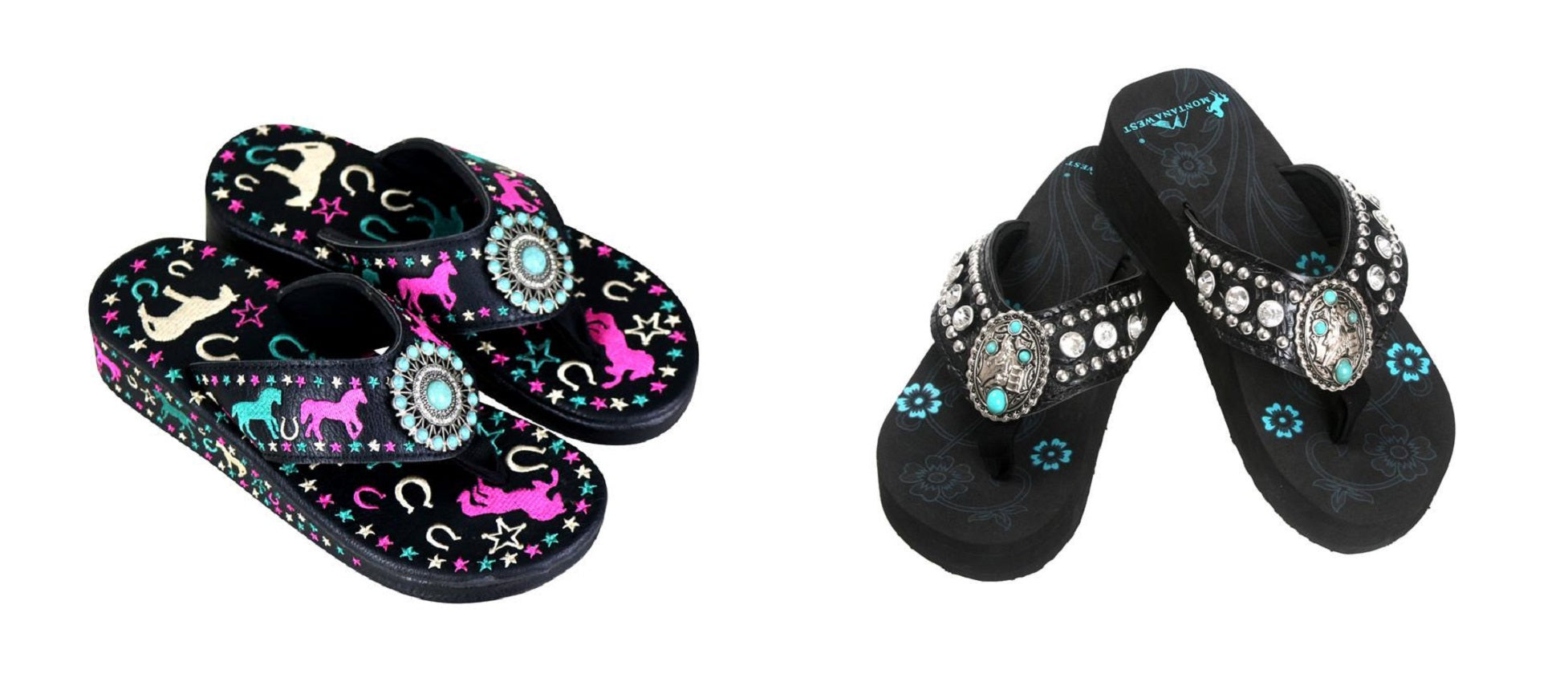 8a251d6625c2 Montana west horse western cowgirl concho flip flops sandals shoes black  turquoise jpg 1954x850 Turquoise western