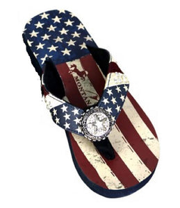 31c2fd04c1e976 Montana West USA American Flag Star Patriotic Thin Flip Flops Sandals Red  Blue