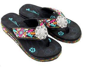 "Montana West 1.75"" Wedge Rhinestone Concho Aztec Flower Flip Flops Black"