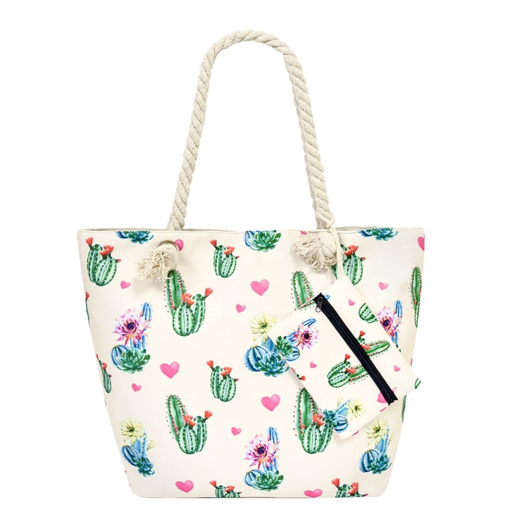 Cactus Flower Heart Tote Bag Diaper Shopping Purse Coin Pouch Wallet Beige Pink Blue Green