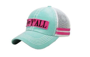 KB Hey Yall Vented Mesh Trucker Vintage Distressed Cap Hat Mint Blue Pink Turquoise Black Maroon