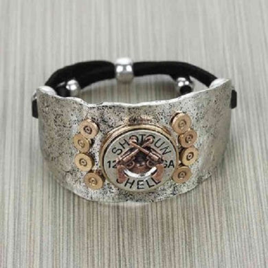 Faux 12 Gauge Bullet Crossed Gun Western Drawstring Bracelet Silver Gold Copper