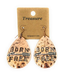 Born Free Aztec Arrow Hammered Look Copper Bronze Fish Hook Earrings