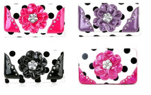 DH Polka Dot Bling Rhinestone Flower Floral Western Womens Wallet Pink Purple Black