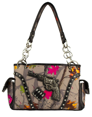 Hot Leaf Camo Gun Pistol Bullets CCW Concealed Carry Weapon Purse Brown Khaki