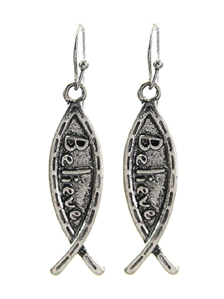 Fish Believe Jesus Spiritual Western Cowgirl Hook Earrings Silver Tone 1.75