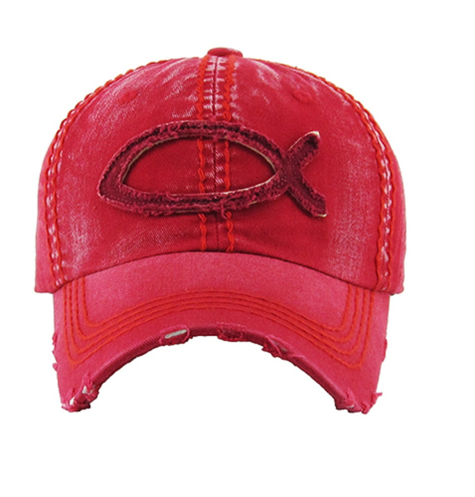 KB Adjustable Jesus Fish Spiritual Western Vintage Washed Distressed Hat Cap Red