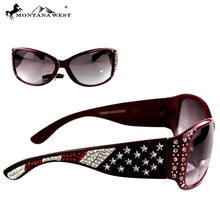 Montana West USA Patriotic Stars Bling Rhinestone American Flag Sunglasses Red Blue Black