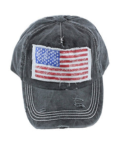 Adjustable USA America July 4th Texas Patriotic Vintage Hat Cap or Vented Trucker Mesh Black