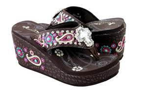 "Montana West Cross Aztec Paisley Rhinestone 3"" Wedge Flip Flops Sandals Brown Pink"