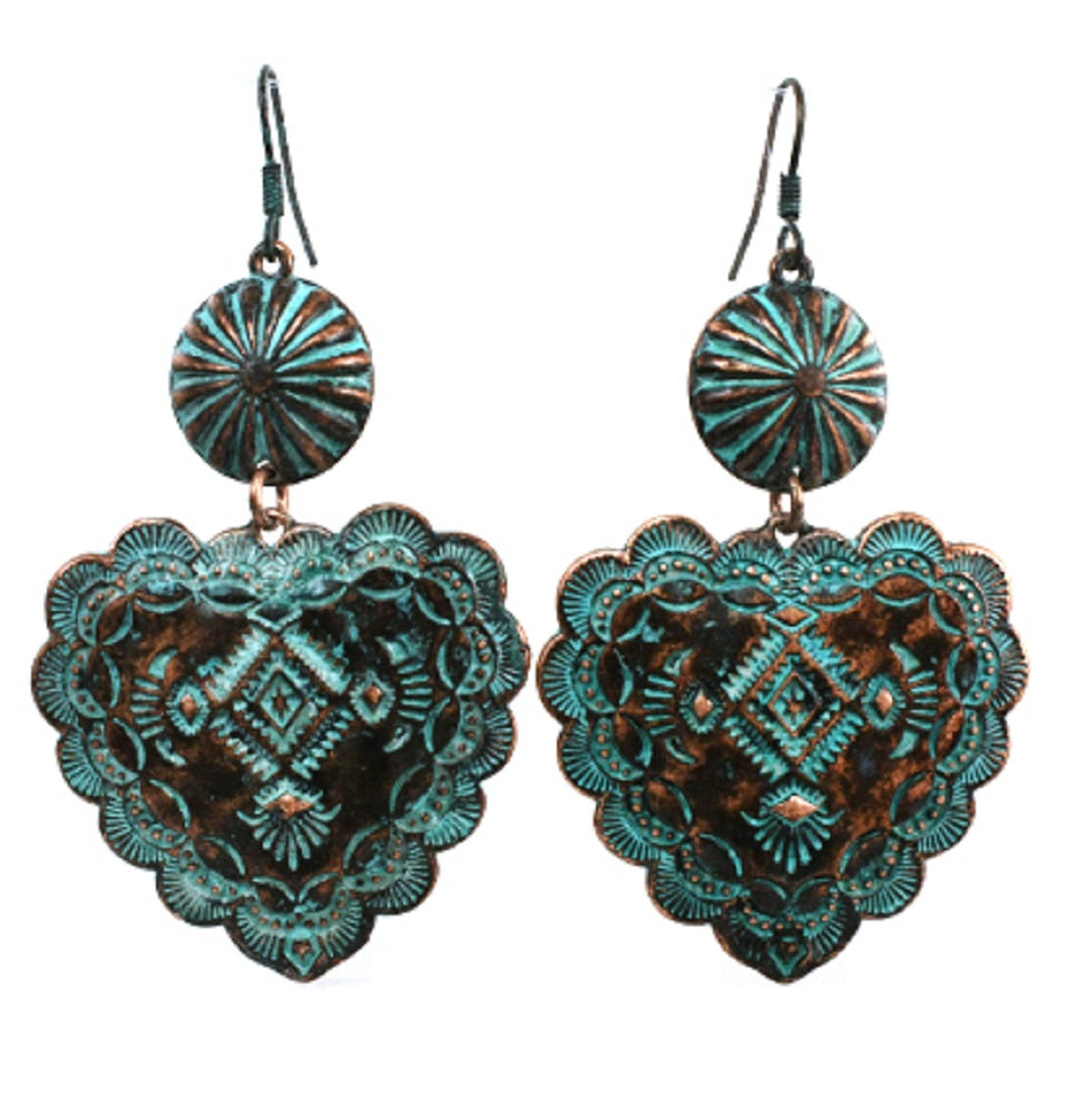 Antique Aztec Heart Daisy Concho Hook Drop Dangle Earrings 3
