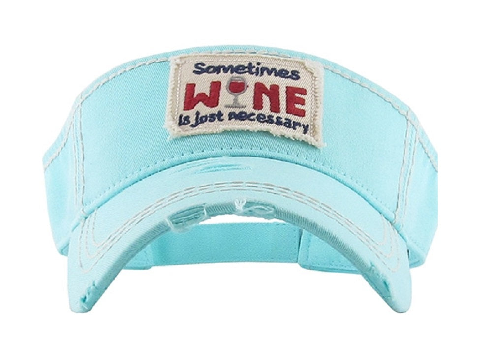 KB Adjustable Sometimes Wine is Just Necessary Vintage Distressed Visor Hat Cap Black Blue