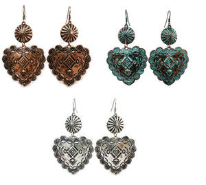 "Antique Aztec Heart Daisy Concho Hook Drop Dangle Earrings 3"" Silver Copper Patina Turquoise Blue"
