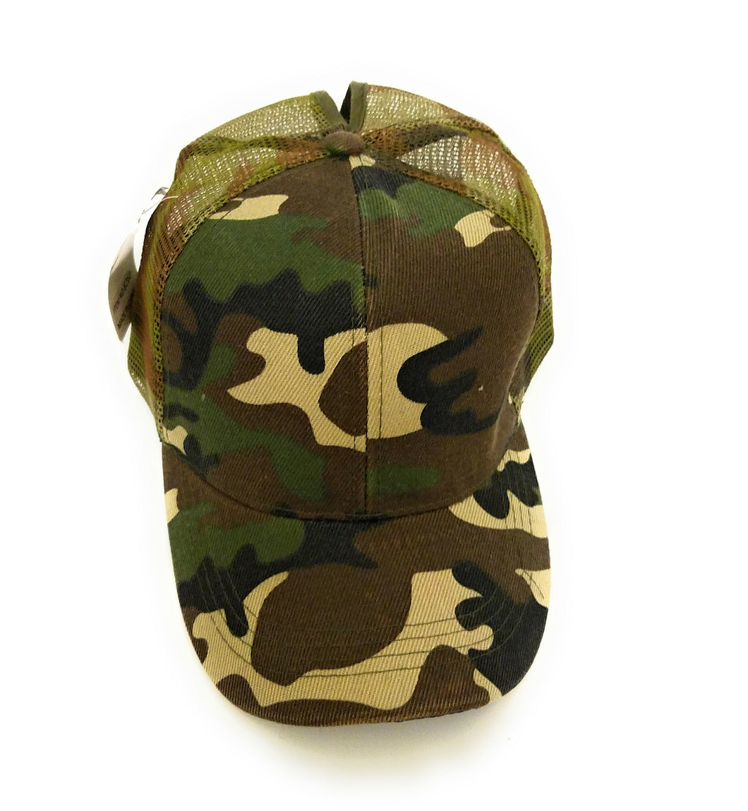 S&R Army Camo High Ponytail Bun Mesh Vented Trucker Adjustable Hat Cap Green Brown