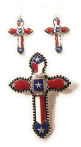 Cross Texas Lone Star USA Patriotic Magnetic Pendant Earrings Set Red White Blue