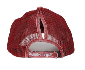 Southern Junkie High Ponytail Bun Vintage Distress Trucker Mesh Vented Hat Cap Maroon Red Navy Blue