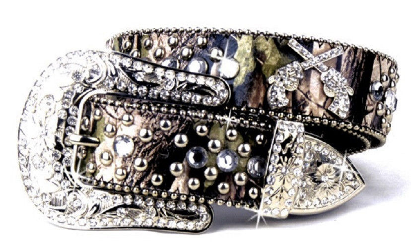 Camo Leather Bling Rhinestone Buckle Crossed Gun Pistols Belt Small Medium Large XL