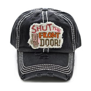 KB Adjustable Shut the Front Door Distressed Vintage Look Hat Cap Black
