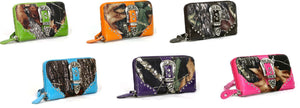 Camo Bling Rhinestone Belt Buckle Zipper Wristlet Wallet Blue Pink Purple Orange Green Brown