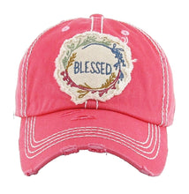 Adjustable Blessed Floral Vintage Distressed Hat Cap Turquoise Blue Beige Khaki Pink Red Black