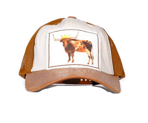 Adjustable Royal Steer Hat Brown Mesh Vented Princess Queen Crown Longhorn Cow Cap