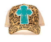 Cheetah Leopard Aztec Cross Mesh Vented Trucker Hat Cap Brown Tan Turquoise Blue
