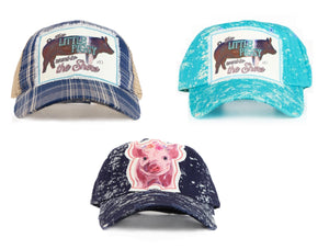 Southern Junkie This Little Piggy Went To The Show Farm Ag Pig Distressed Hat Cap Turquoise Blue