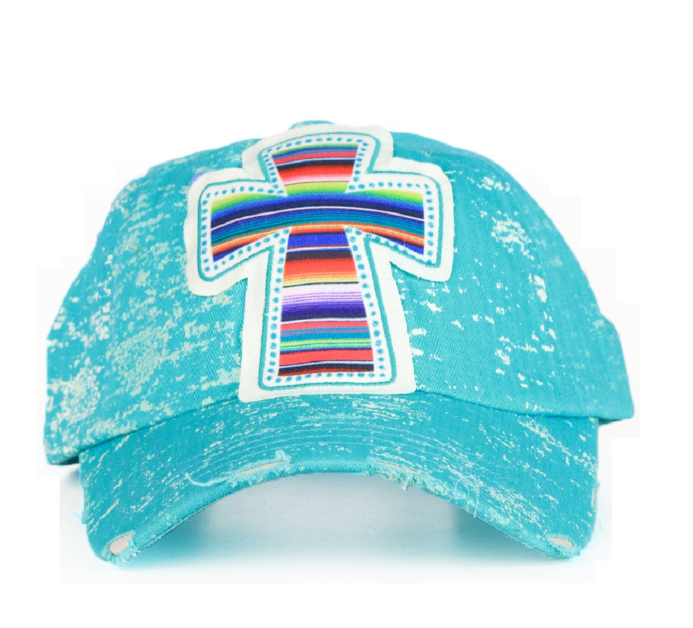 Southern Junkie Adjustable Serape Aztec Cross Vintage Distressed Hat Cap Turquoise Blue Black Gray
