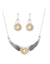 38 SPL Special Winchester Faux Bullet Wings Necklace Earrings Silver Patina Blue