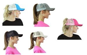 Adjustable High Ponytail Bun Mesh Vented Trucker Hat Cap Black Blue White Pink Tan Khaki Brown