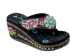 "Montana West Turquoise Concho Aztec Flower Rhinestone 3"" Wedge Flip Flops Sandals Black"