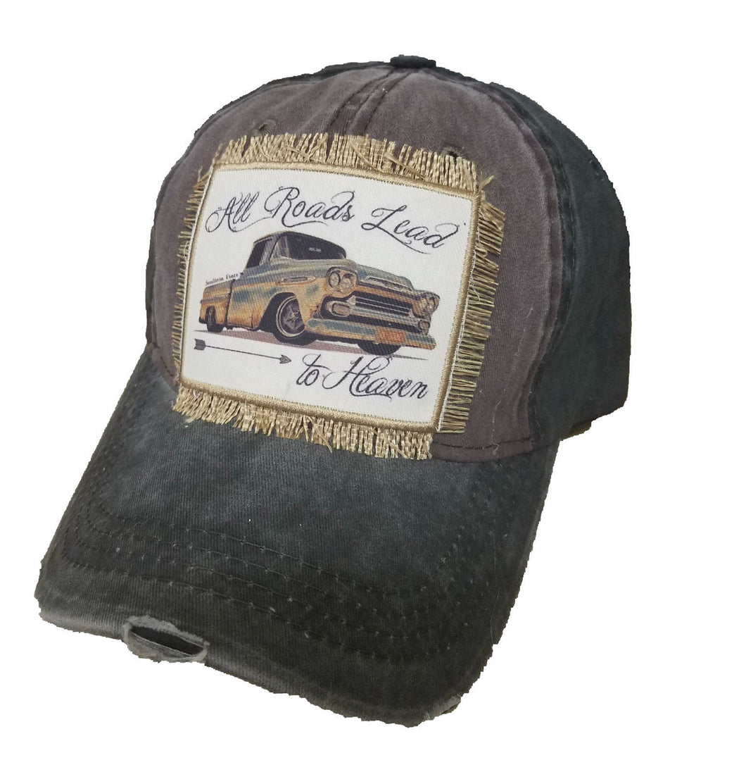 Southern Junkie Truck All Roads Lead to Heaven Fringe Patch Hat Cap Brown Black