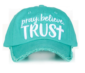 Ashlyn Rose Pray Believe Trust Cross Vintage Distressed Hat Cap Turquoise Blue
