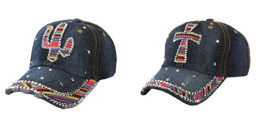 Serape Aztec Bling Rhinestone Vintage Distressed Baseball Cap Hat Denim Blue Cactus Cross