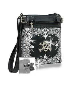 HX Skull Concealed Carry Messenger Bag Crossbones Rhinestone Bling Purse Black
