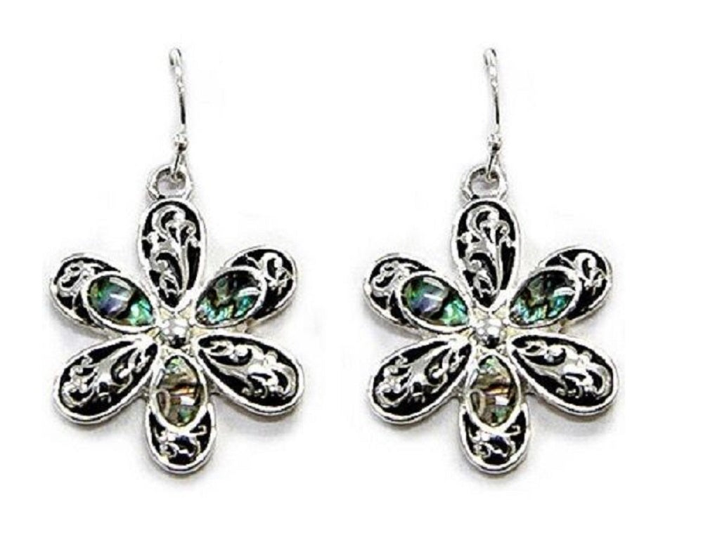 Flower Fish Hook Filigree Swirl Earrings Jewelry Abalone Silver Tone Black