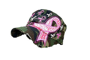 Adjustable Pink Ribbon Awareness Hat Army Camo Bling Rhinestone Distressed Cap
