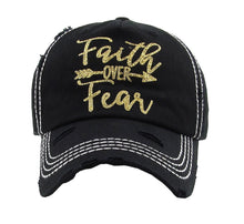 Adjustable Faith Over Fear Arrow Vintage Distressed Baseball Hat Cap