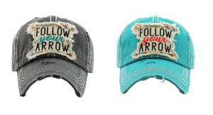 Adjustable Follow Your Arrow Aztec Vintage Distressed Hat Cap Turquoise Blue Black