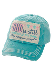 Adjustable God is Still Working on You Cross Hat Bible Verse Baseball Cap Turquoise Blue Black