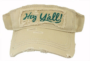 Adjustable Hey Yall Country Western Distressed Vintage Look Sun Visor