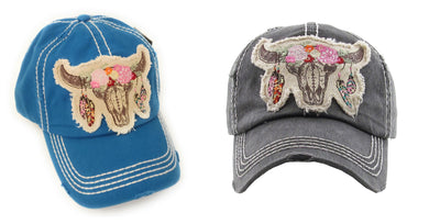Adjustable Longhorn Bull Steer Skull Head Aztec Feather Flower Vintage Baseball Hat Cap Black Blue