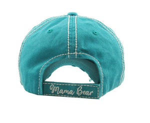 Adjustable Mama Bear Hat Vintage Distressed Mom Baseball Cap Turquoise Hearts Khaki Aztec Arrow
