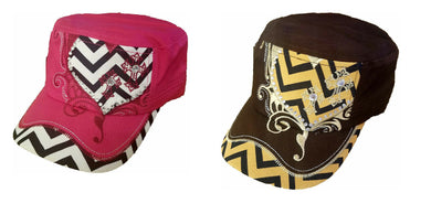 Adjustable Rhinestone Chevron Stripes Heart Cross Hat Cap Black Pink Brown Tan