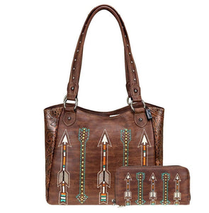 American Bling Aztec Arrow Handbag Purse Pocketbook Zipper Wallet Set Brown