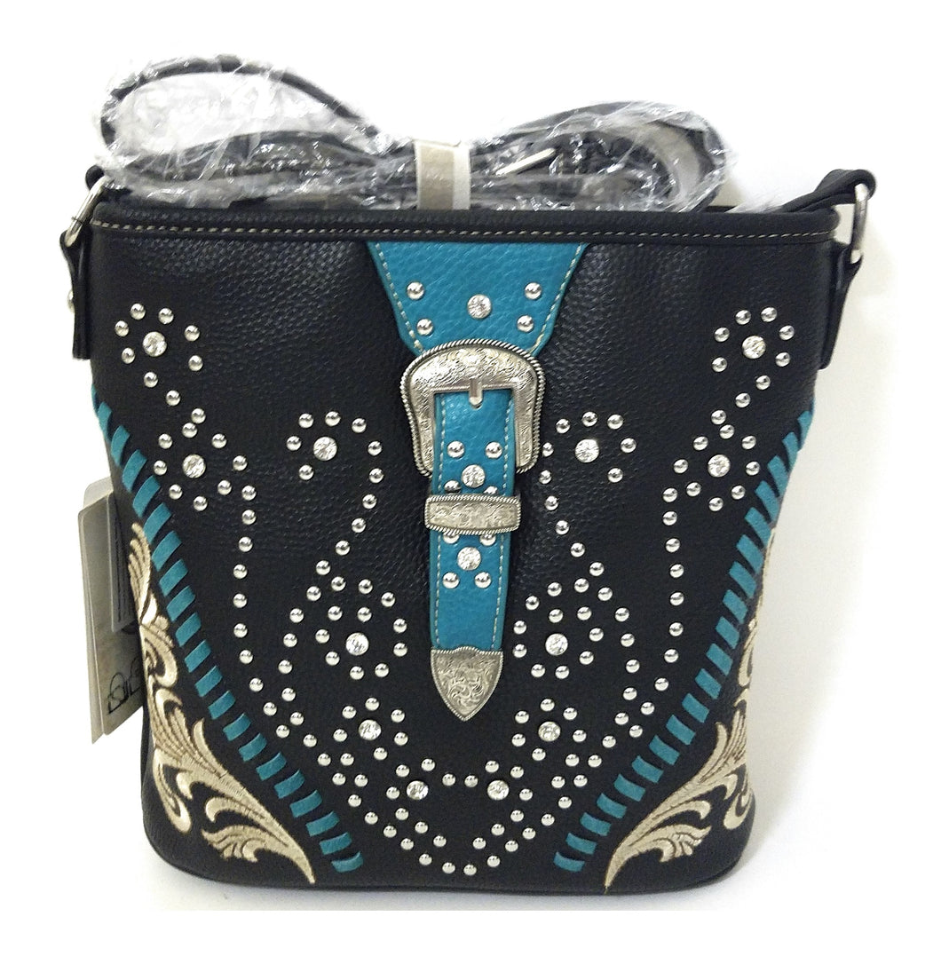 American Bling Concealed Carry Buckle Messenger Bag Purse Black Turquoise Blue