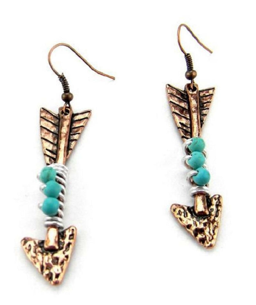 Aztec Arrow Arrowhead Earrings Western Jewelry Copper Tone Turquoise Blue Beads