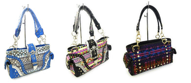 Aztec Chevron Geometric Bling Concealed Carry CCW Purse Shoulder Bag