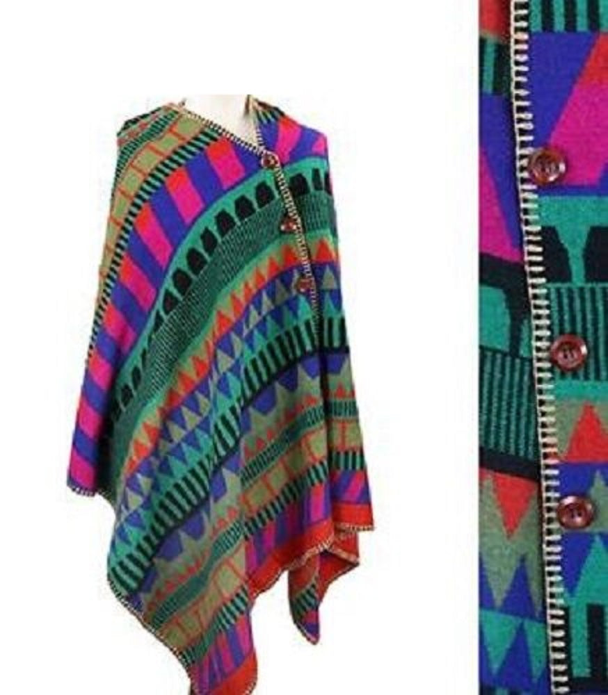 Aztec Chevron Geometric Button Up Poncho Shawl Wrap Winter Fall Blue Pink Green